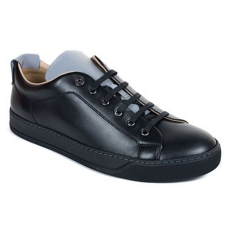 Mens Lanvin Black Calfskin Two Tone Lace Up Low Top Sneakers