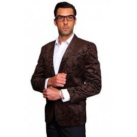 MZV-405 BROWN Men's Manzini Fancy Paisley design Velvet, sport coat