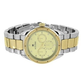 Ice Time Mens Watch Gold Dial Silver & Gold Tone Watch Genuine Diamonds 0.10 CT Chronograph Display