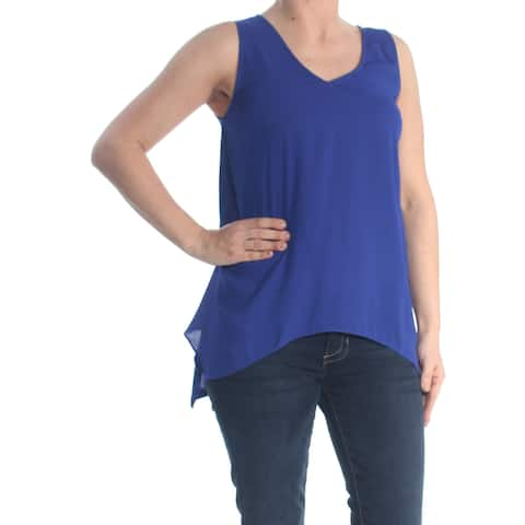 INC Womens Blue Hankerchief Hem Sleeveless V Neck Wear To Work Top Petites Size: S