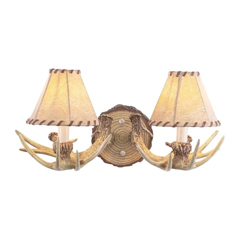Lodge 2 Light Rustic Wood Antler Armed Wall Sconce Faux Leather Shade - 16.75-in W x 8.25-in H x 9.5-in D