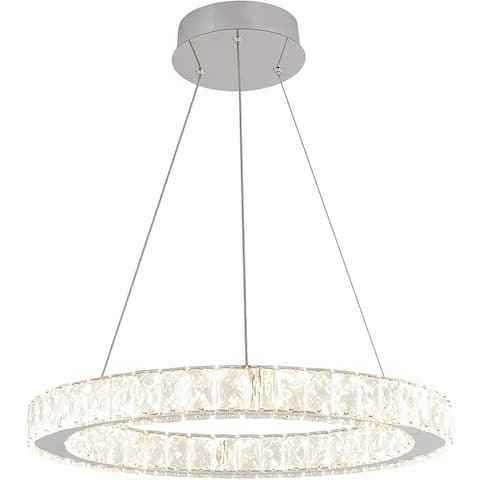 Artika Modern Celebrity Round Rings Crystal Chandelier for Dining Room, Chrome finish