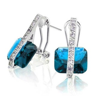 Bling Jewelry Light Blue CZ Omega Earrings Rhodium Plated Brass