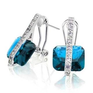 Bling Jewelry Light Blue CZ Omega Earrings Rhodium Plated Brass