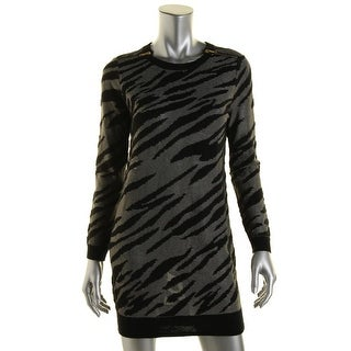 French Connection Womens Wool Blend Animal Print Sweaterdress - 0