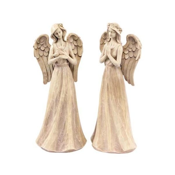 "Set of 2 Nature's Way Angel Outdoor Garden Statues 16"" - WHITE"