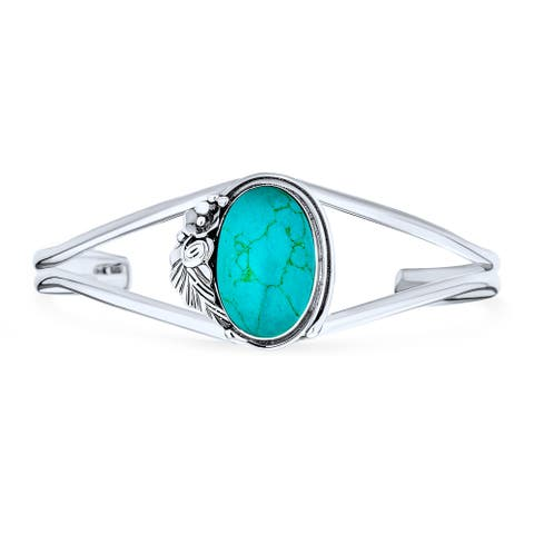 Southwest Style Oval Cabochon Turquoise Cuff Bracelet Sterling Silver