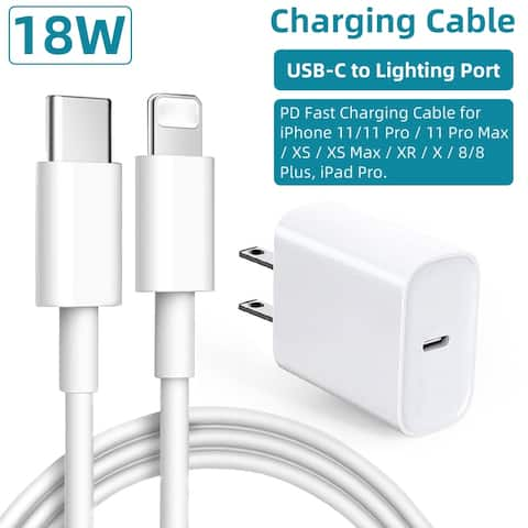 18W Power Charger PD USB C Fast Charger Lighting Port Cable Data Cable PD Fast Charging Cable for iPhone12 iPad Pro