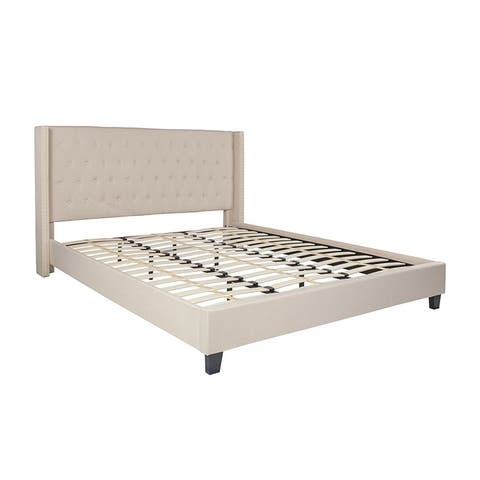 Offex Riverdale King Size Tufted Upholstered Platform Bed in Beige Fabric