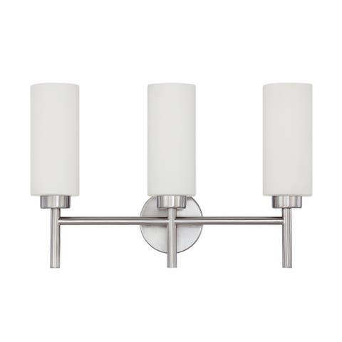 Sunset Lighting F2803-80 Rossington Three Light Vanity, Opal Glass Dimmable, with Bright Satin Nickel Finish