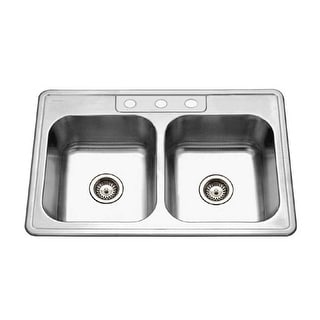 """Houzer 3322-8BS  Glowtone 33"""" Double Basin Drop In 20-Gauge Stainless Steel Kitchen Sink with 50/50 Split and Sound Dampening"""