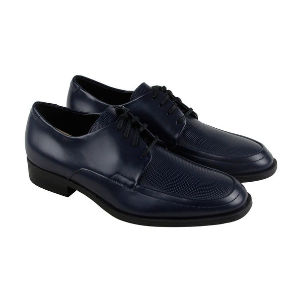 Calvin Klein Draven Box Mens Blue Leather Casual Dress Lace Up Oxfords Shoes