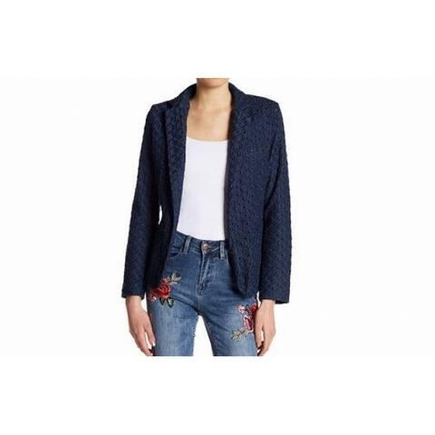Nanette Lepore Blue Womens Size Medium M Eyelet Flyaway Jacket