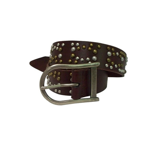 Danbury Western Belt Womens Genuine Leather Silver L Brown