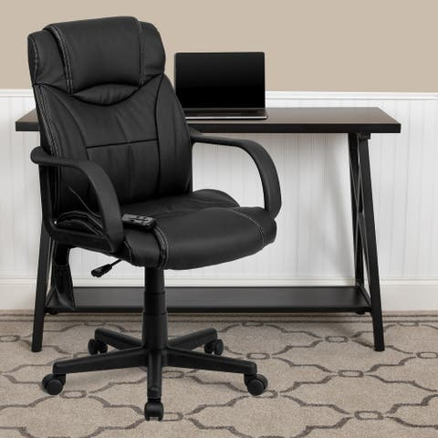 Mid-Back Ergonomic Massaging LeatherSoft Executive Office Chair w/ Arms