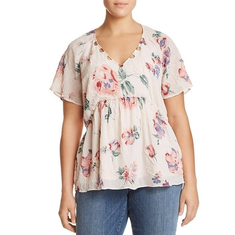 Lucky Brand Womens Plus Blouse Floral Print Flutter Sleeves