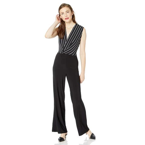 Bebe Womens Black Striped Wrap Jumpsuit