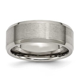 Titanium Beveled Edge 8mm Brushed and Polished Band