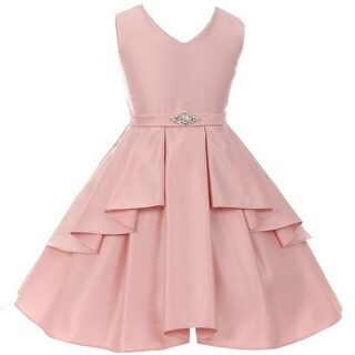 Flower Girl Dress Solid Dull Satin Overlay Blush GG 3571