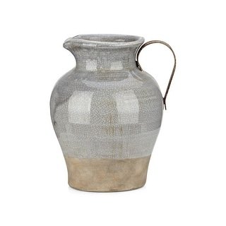 Urn Shape Ceramic Vase with Iron Handle, Small, Gray and Brown