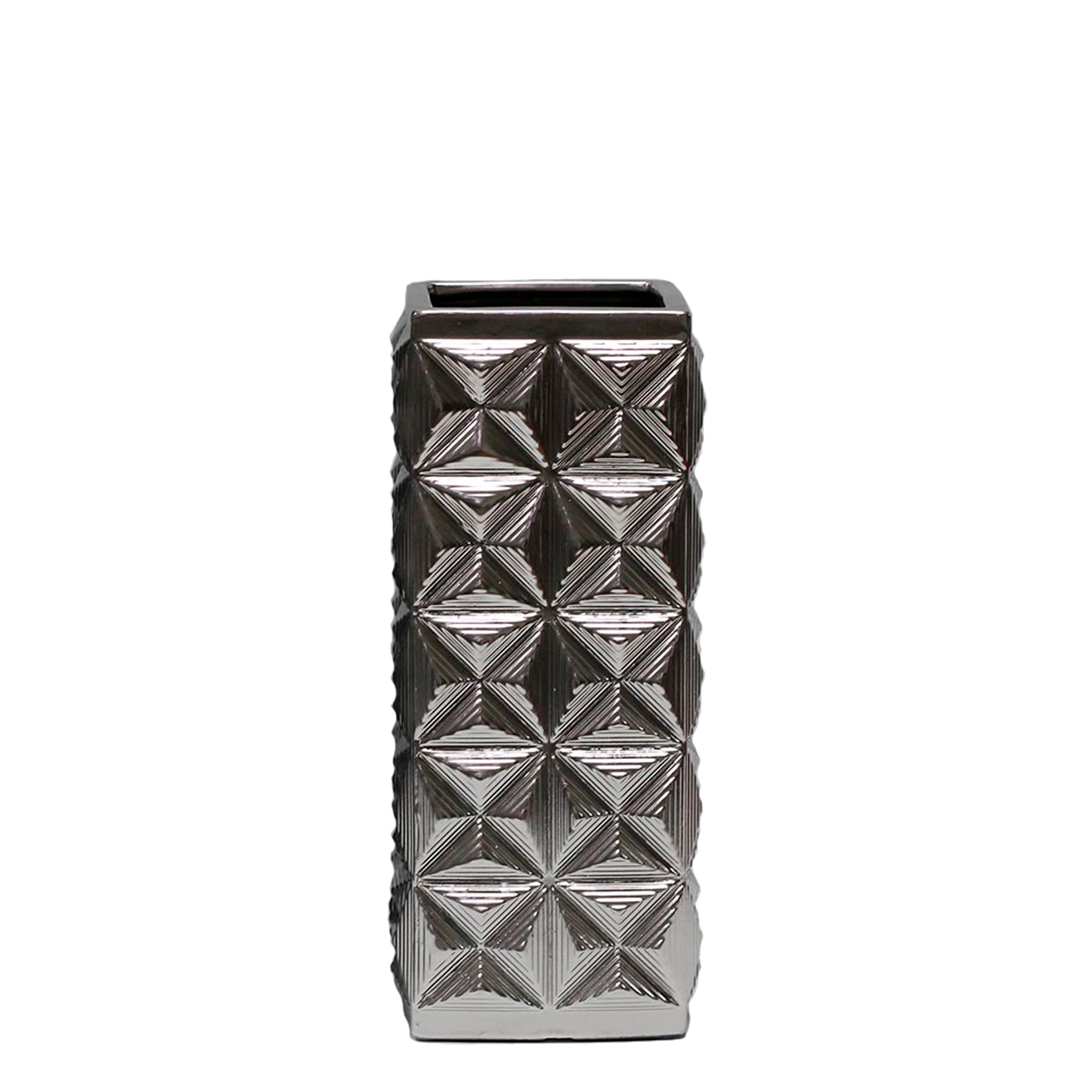 Geometric Vase with Intricate Embossed Design, Small, Matte Silver