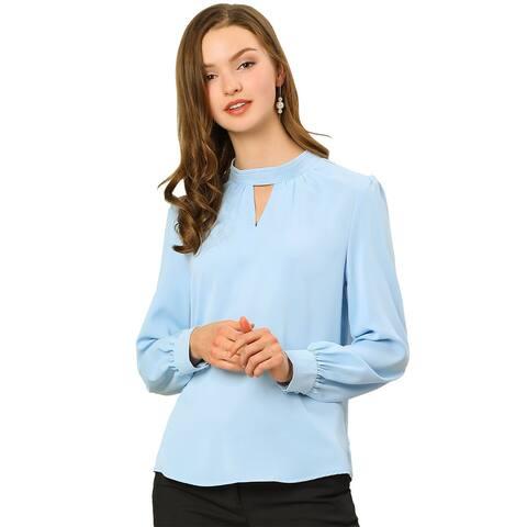 Women's Work Office Shirt Keyhole Fall Long Sleeve Chiffon Blouse