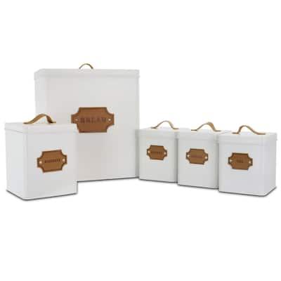 MegaChef Kitchen Food Storage 5 Piece Cannister Set White