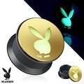 Playboy Bunny Cutout Gold IP Acrylic Glow in the Dark Screw Fit Plug (Sold Individually) - Thumbnail 0