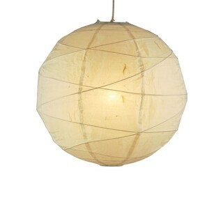 "Adesso 4161 Orb 19"" Wide 1 Light Pendant with Natural Rice Paper Shade"