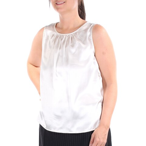 LE SUIT Womens Ivory Sleeveless Jewel Neck Top Size: 12