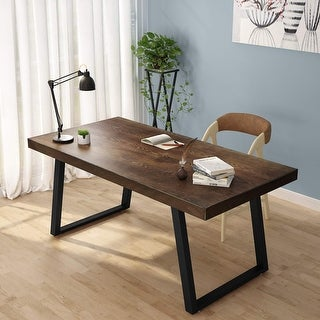 """55"""" Rustic Solid Wood Computer Desk, Vintage Industrial Home Office Desk with Heavy-Duty Metal Base"""