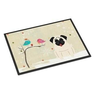 Carolines Treasures BB2476MAT Christmas Presents Between Friends Pug Cream Indoor or Outdoor Mat 18 x 0.25 x 27 in.