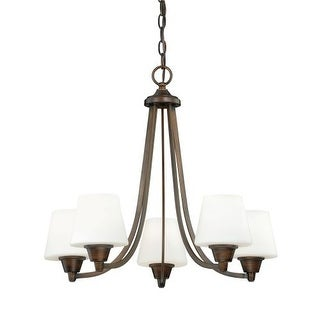 Vaxcel Lighting H0102 Calais 5 Light Single Tier Chandelier with Frosted Glass Shades - 24 Inches Wide