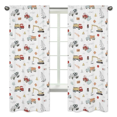 Sweet Jojo Designs Construction Truck 84in Window Treatment Curtain Panel Pair - Grey Yellow Red and Blue Transportation