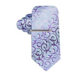 Alfani Spectrum Tulum Curves Classic Silk Necktie Purple and Blue Tie