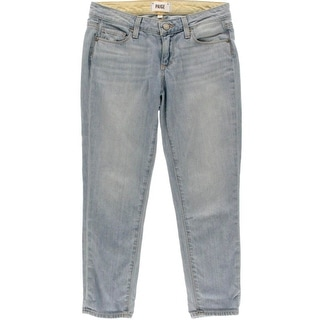Paige Womens Jimmy Jimmy Light Wash Low-Rise Cropped Jeans
