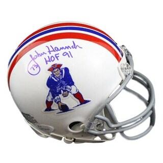 John Hannah Autographed New England Patriots TB Mini Helmet HOF JSA