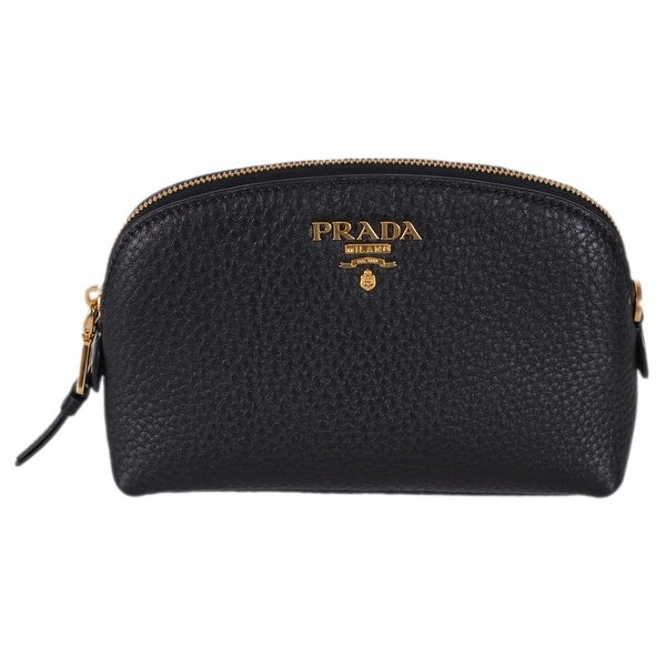 Prada Women  x27 s 1ND005 Black Textured Grain Leather Metal Logo Cosmetic  Bag 7cc8e9eccc