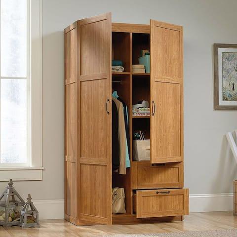 Bedroom Wardrobe Cabinet Storage Closet Organizer in Medium Oak Finish