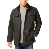 Levi's Mens Canvas Field Jacket Small S Olive Brown Quilted Cotton Lining #6020