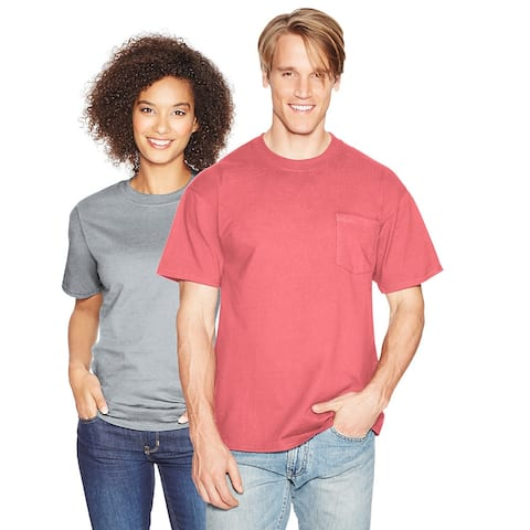 Hanes Beefy-T Adult Pocket T-Shirt - Size - XL - Color - Charisma Coral