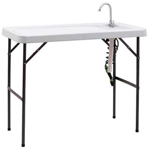 Costway Folding Fish Table Hunting Clean Cutting Camping Sink Faucet w
