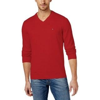 Tommy Hilfiger Mens V-Neck Sweater Knit Ribbed Trim