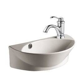 Small White Wall Mount Bathroom Vessel Sink with Single Faucet Hole, Overflow