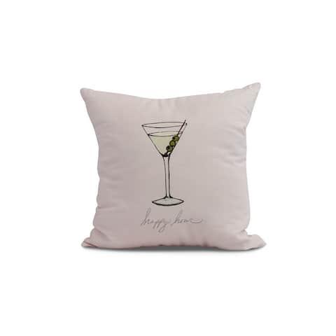 20 x 20 Inch Martini Glass Happy Hour Geometric Print Outdoor Pillow