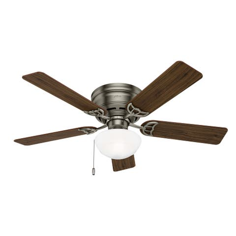 """Hunter 52"""" Low Profile Ceiling Fan with LED Light Kit and Pull Chain"""