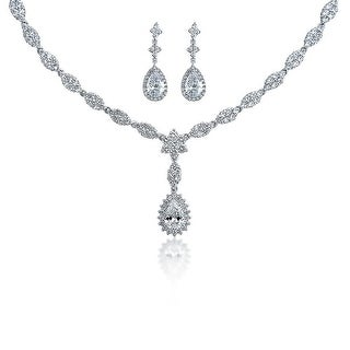 Bling Jewelry Pear CZ Flower Bridal Necklace Earrings Set Rhodium Plated