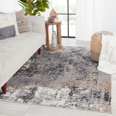 Perrin Abstract Gray/ Tan Area Rug