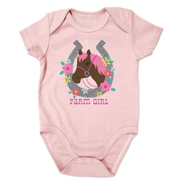 Farm Girl Western Shirt Girls Horseshoe S/S Romper Pink