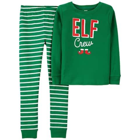 Carter's Boys' 2 Piece Snug Fit Pajama Cotton Elf Crew, Size 12 Months